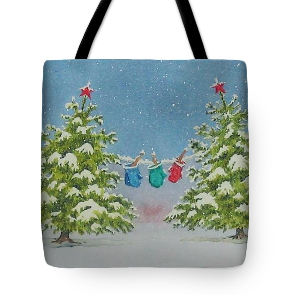 Fun Tote Bag featuring the painting Winter Is Fun by Mary Ellen Mueller Legault