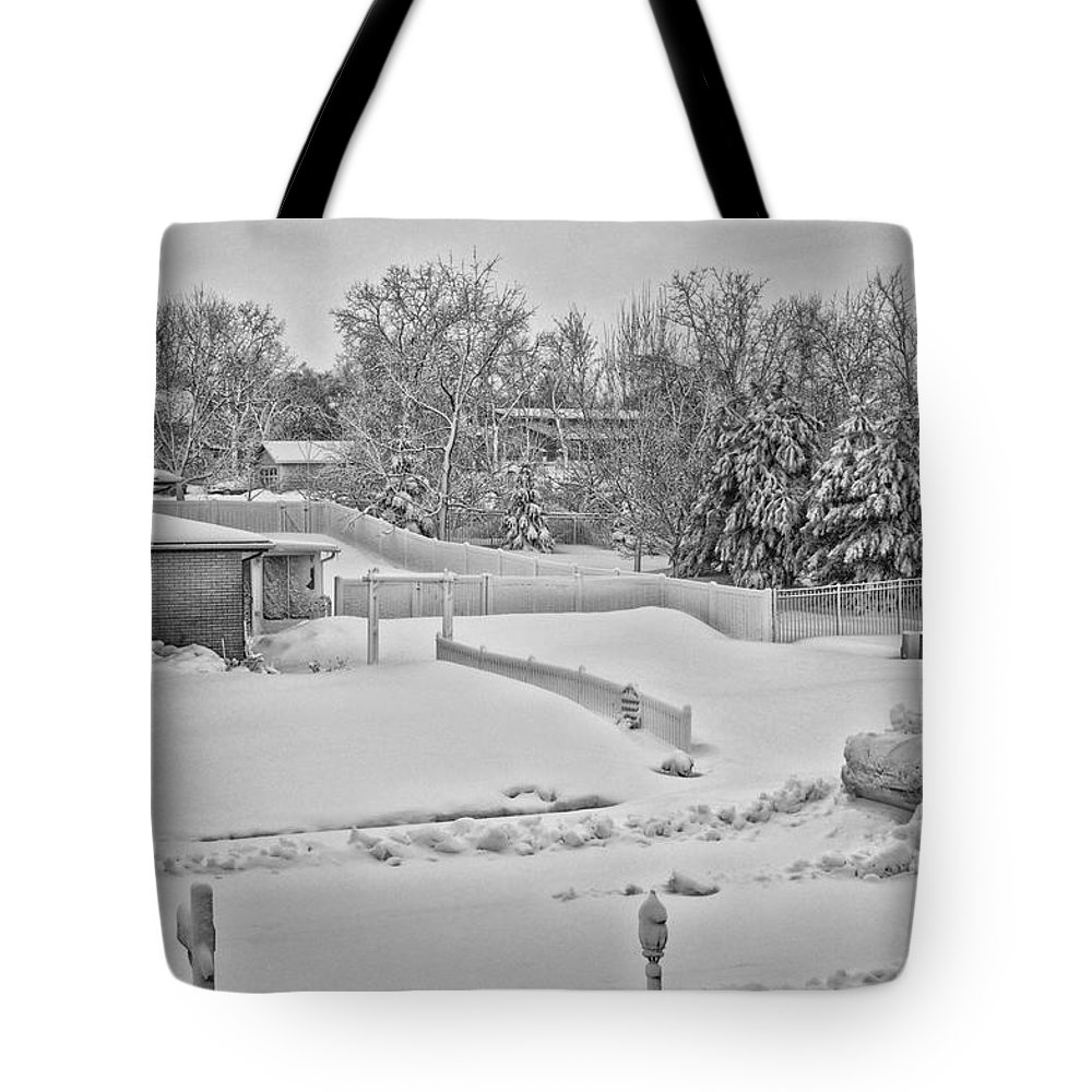 Snow Tote Bag featuring the photograph Winter Lines Black And White by Thomas Woolworth