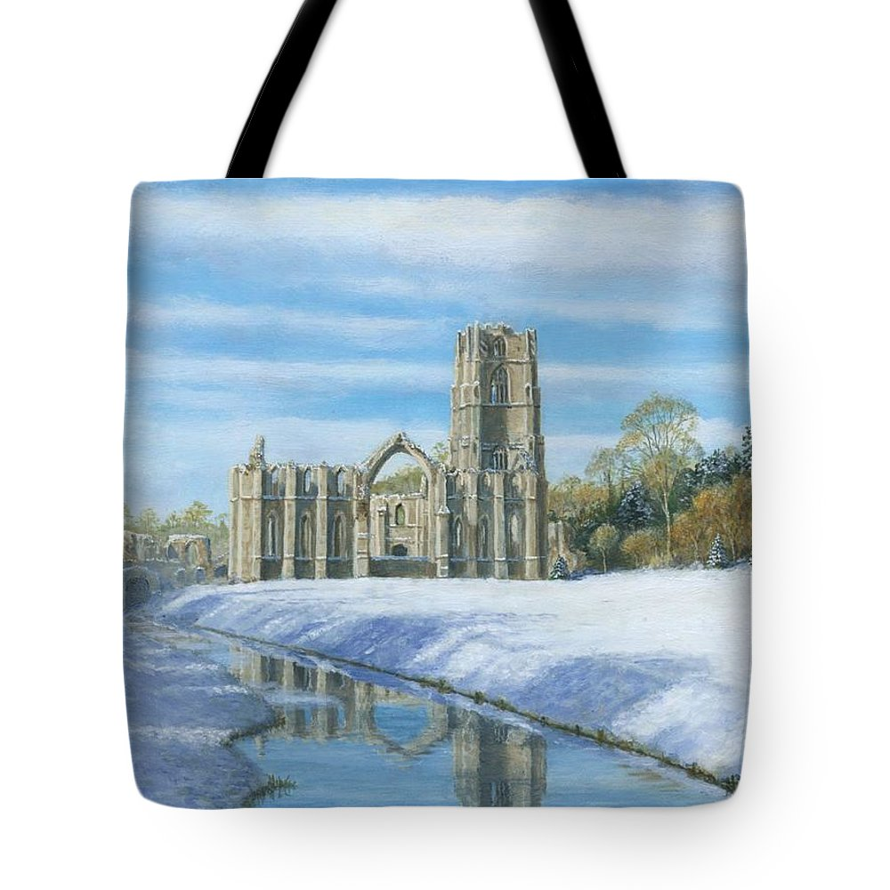 Landscape Tote Bag featuring the painting Winter Morning Fountains Abbey Yorkshire by Richard Harpum