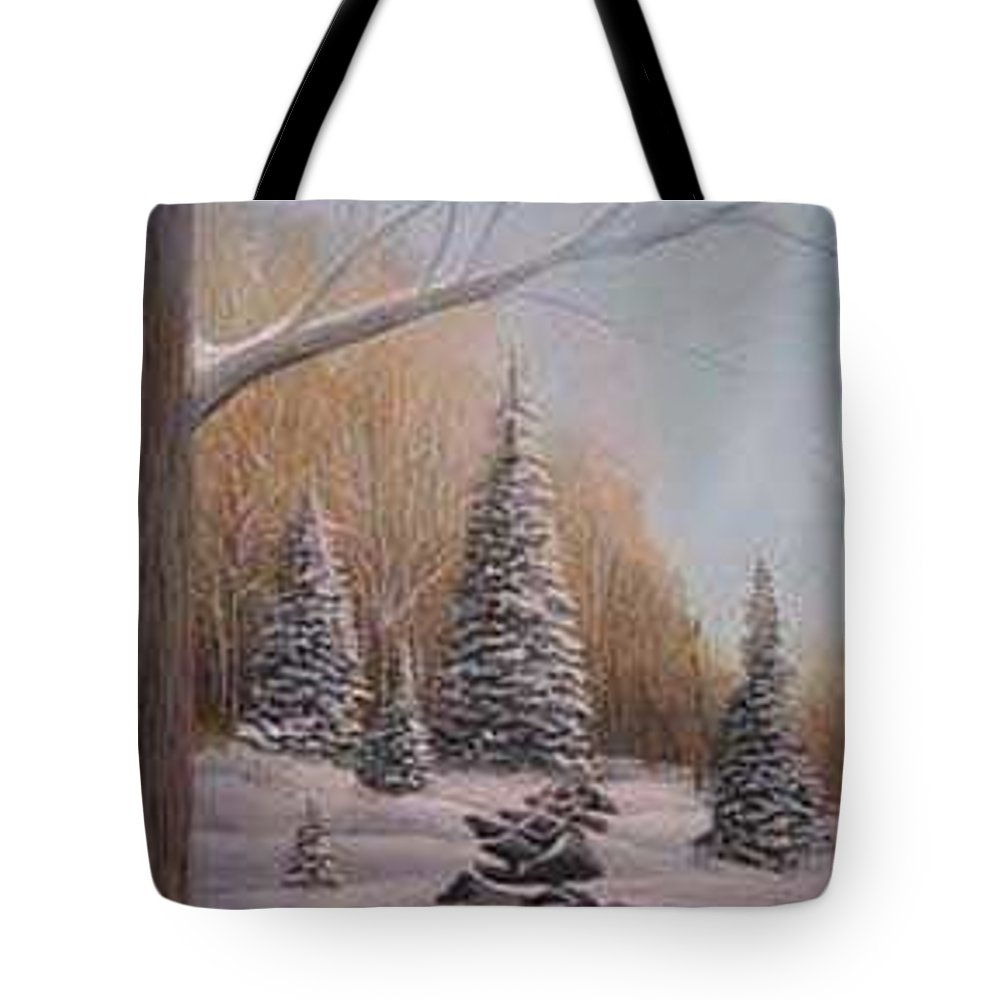 Rick Huotari Tote Bag featuring the painting Winter Morning by Rick Huotari