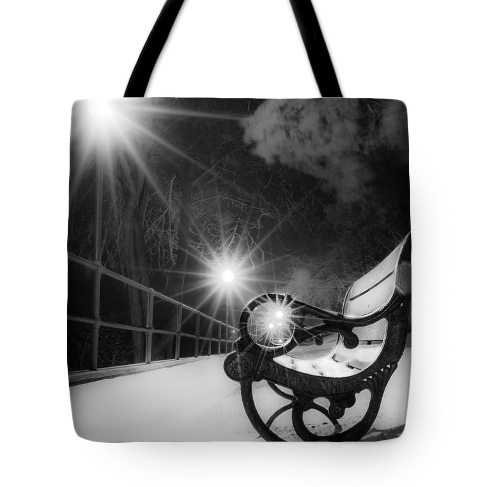 Winter Night Along The River Tote Bag featuring the photograph Winter Night Along The River by Michael Arend