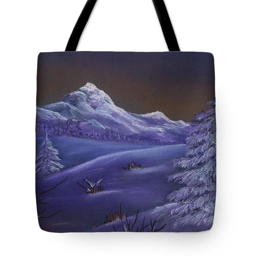 Calm Tote Bag featuring the painting Winter Night by Anastasiya Malakhova