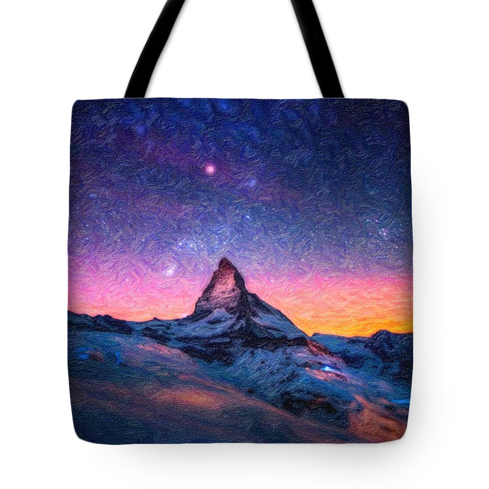 Winter-night-high Peak Tote Bag featuring the painting Winter Night High Peak by MotionAge Designs
