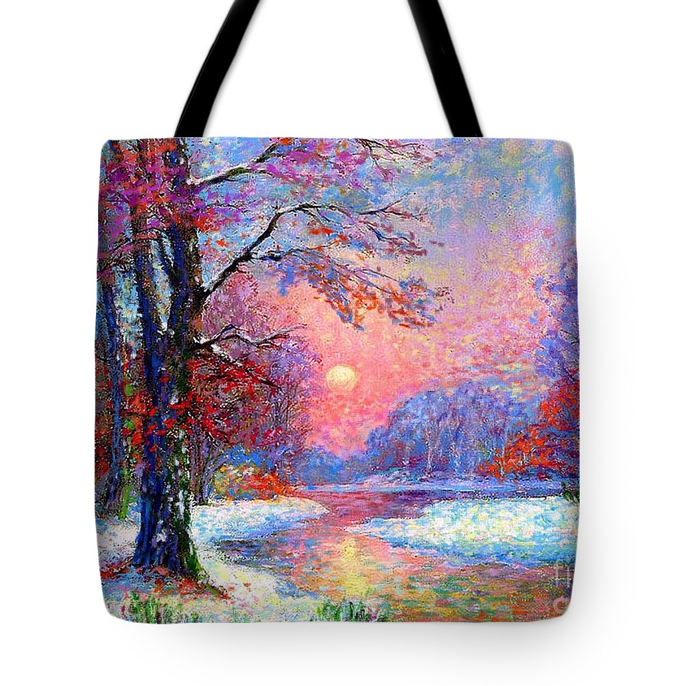Tree Tote Bag featuring the painting Winter Nightfall, Snow Scene by Jane Small