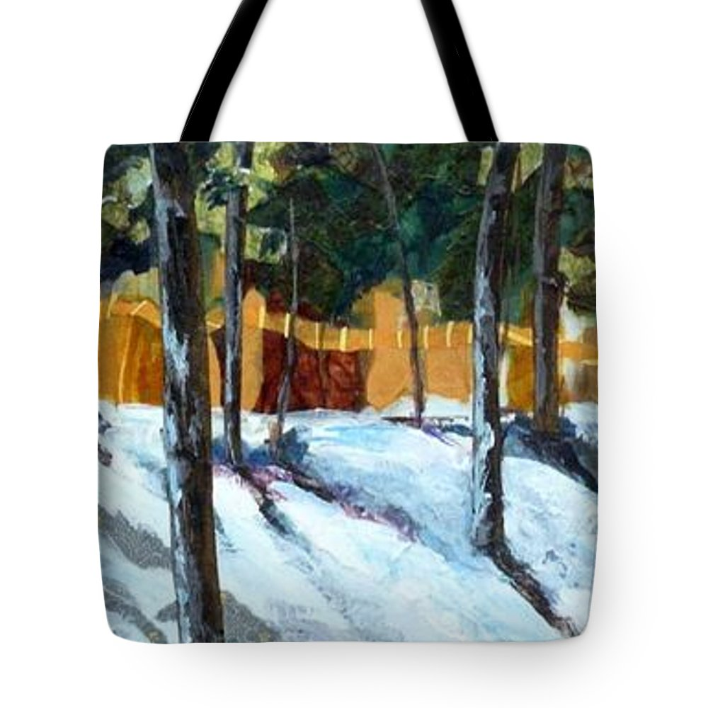 Pine Trees Tote Bag featuring the painting Winter Pines by Saundra Lane Galloway
