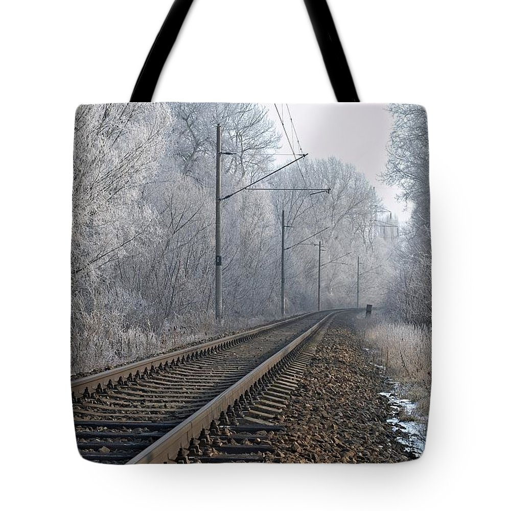 Train Tote Bag featuring the photograph Winter Railroad by Martin Capek
