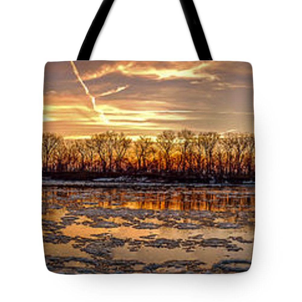 Landscape Tote Bag featuring the photograph Winter River Sunrise by Mark McDaniel