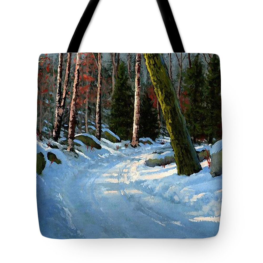 Landscape Tote Bag featuring the painting Winter Road by Frank Wilson