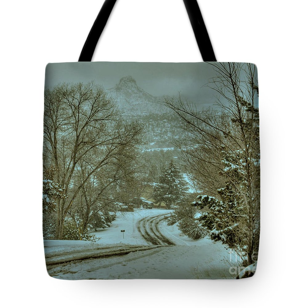 Diana Graves Photography Tote Bag featuring the photograph Winter Road by K D Graves