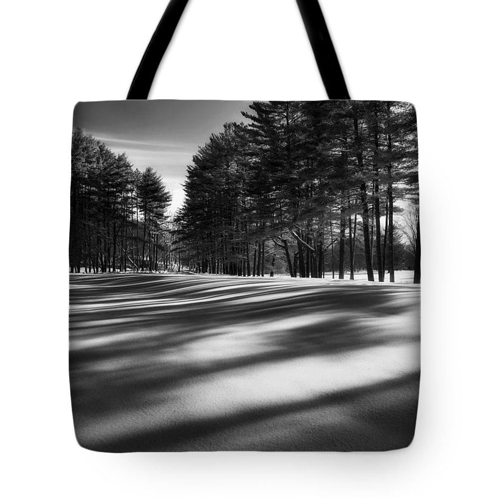 Black And White Tote Bag featuring the photograph Winter Shadows by Bill Wakeley