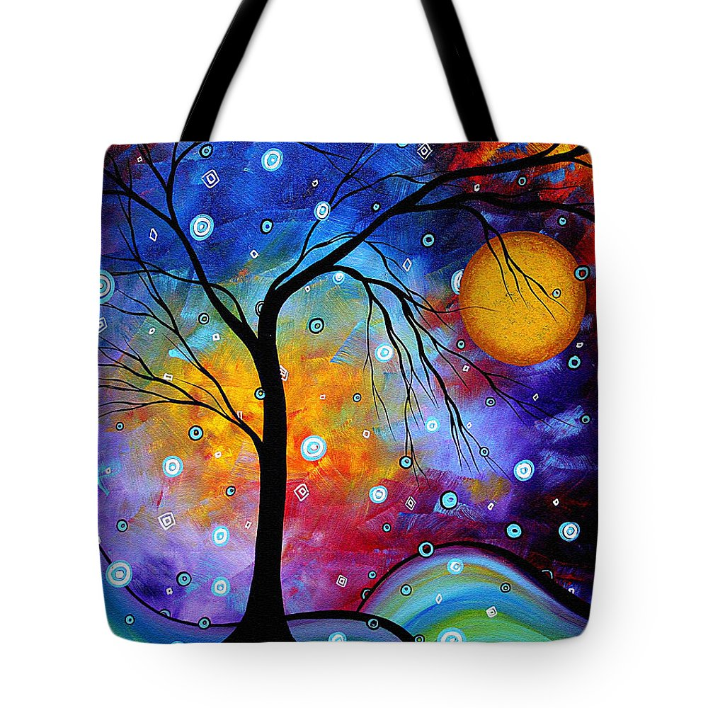 Abstract Tote Bag featuring the painting Winter Sparkle Original Madart Painting by Megan Duncanson