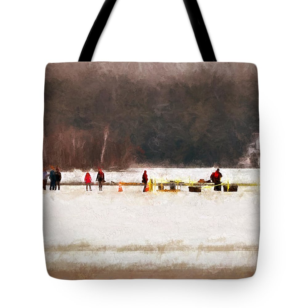 Winter Tote Bag featuring the digital art Winter Splash Xxxii by Tina Baxter