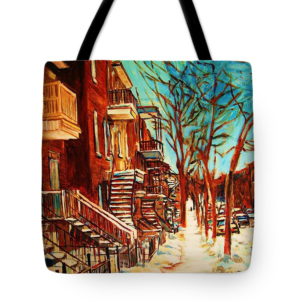 Verdun Paintings By Montreal Street Scene Artist Carole Spandau Tote Bag featuring the painting Winter Staircase by Carole Spandau