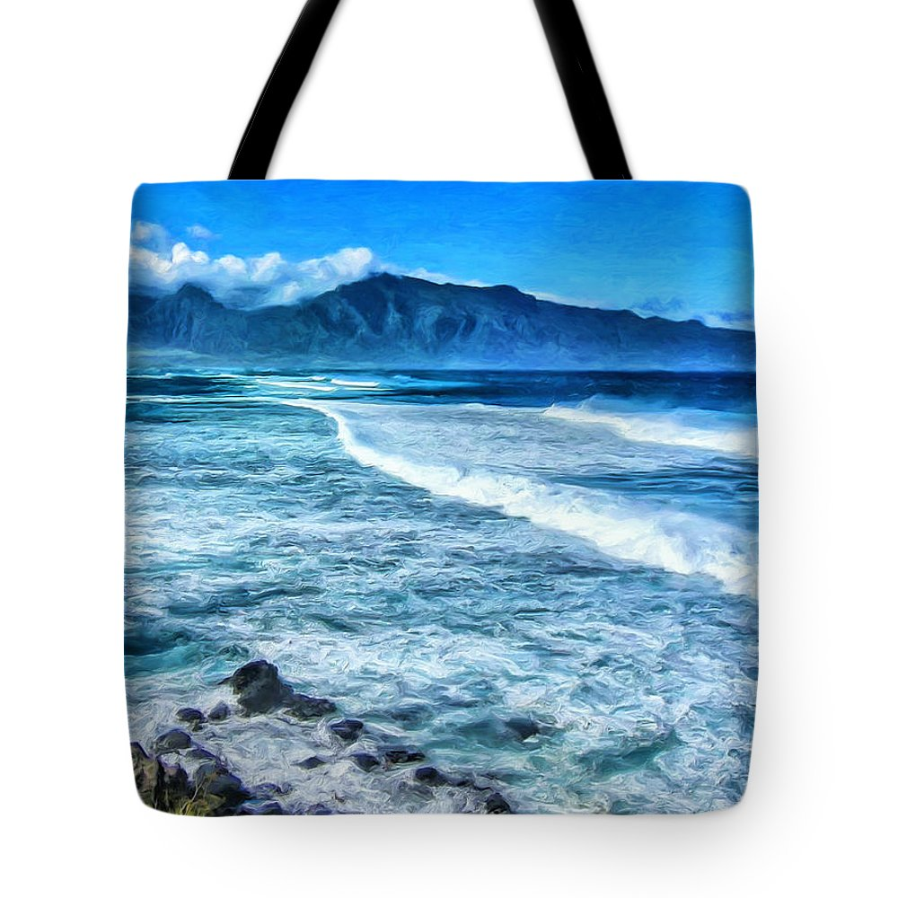 Winter Tote Bag featuring the painting Winter Storm Surf At Ho'okipa Maui by Dominic Piperata