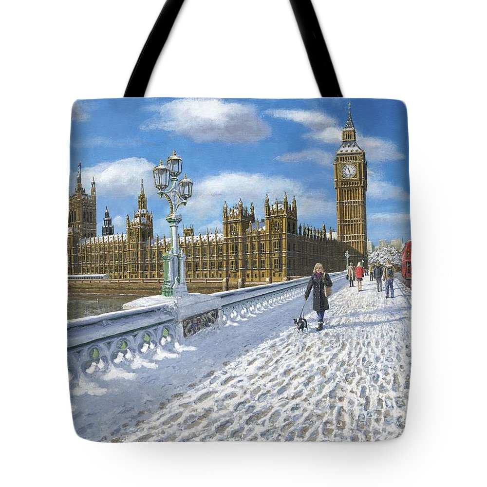 Landscape Tote Bag featuring the painting Winter Sun - Houses Of Parliament London by Richard Harpum