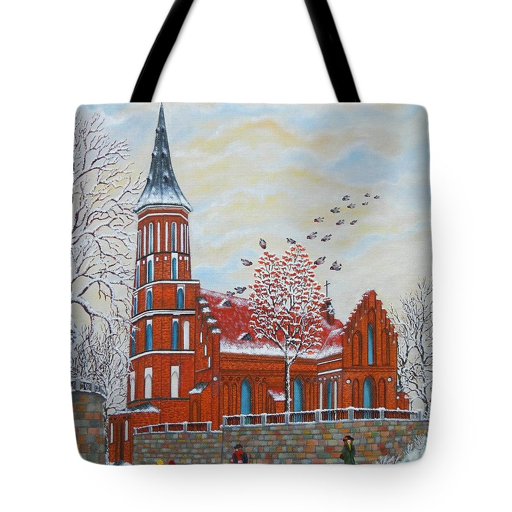 Winter Tote Bag featuring the painting Winter Sunday by Loreta Mickiene