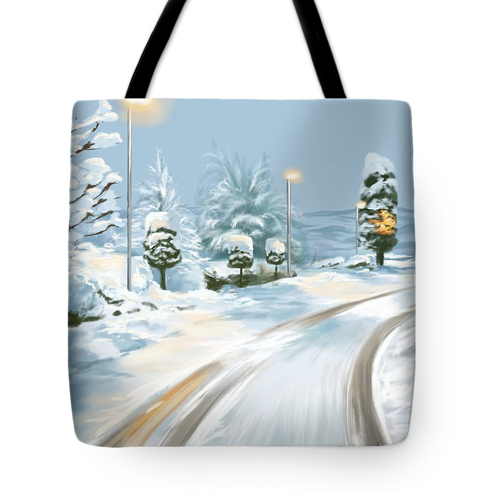 Winter Tote Bag featuring the painting Winter Sunrise by Veronica Minozzi