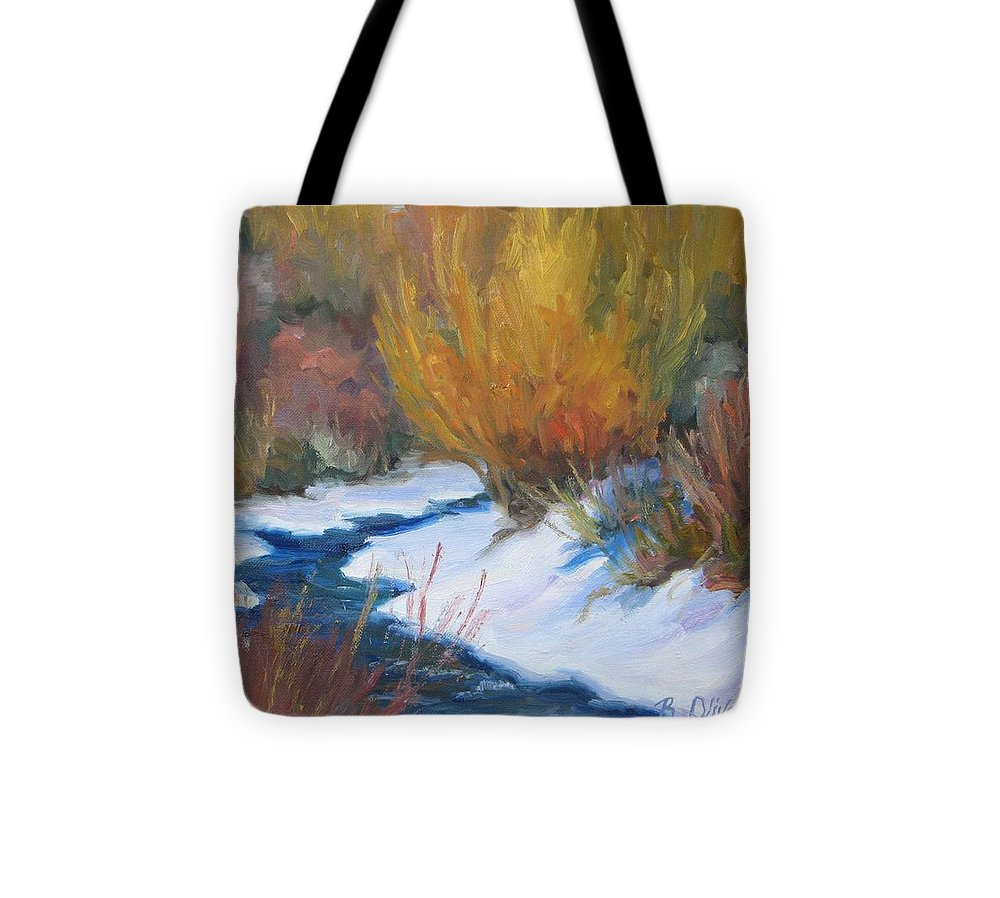Winter Landscape Tote Bag featuring the painting Winter Tapestry by Bunny Oliver