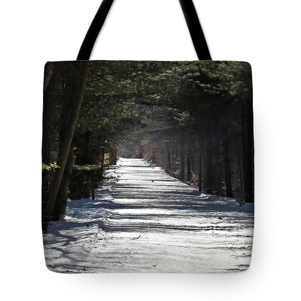 Trail Tote Bag featuring the photograph Winter Trail by MTBobbins Photography