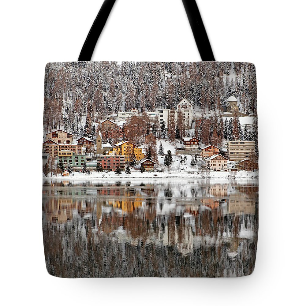 Holiday Tote Bag featuring the photograph Winter View Of Saint Moritz by Massimo Pizzotti