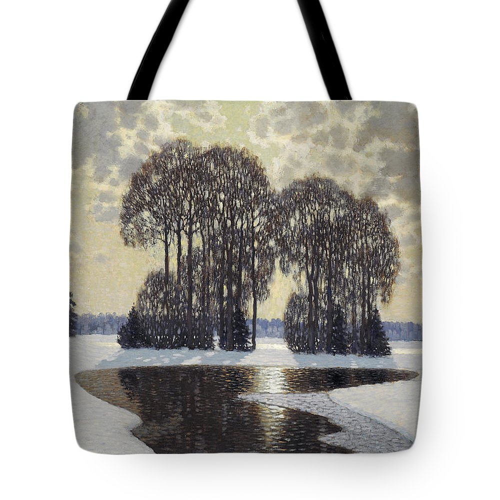 Vilhelms Purvitis Tote Bag featuring the painting Winter by Vilhelms Purvitis