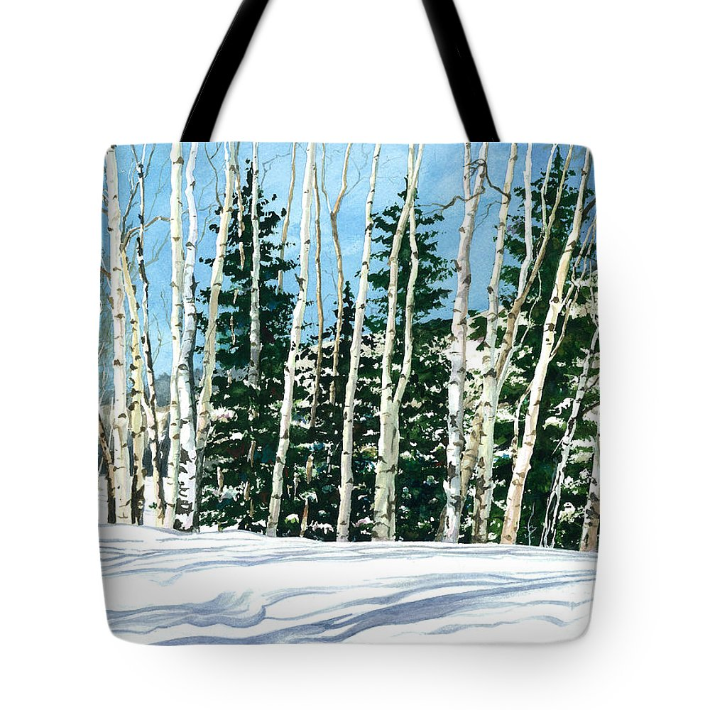 Water Color Paintings Tote Bag featuring the painting Winter Walk by Barbara Jewell