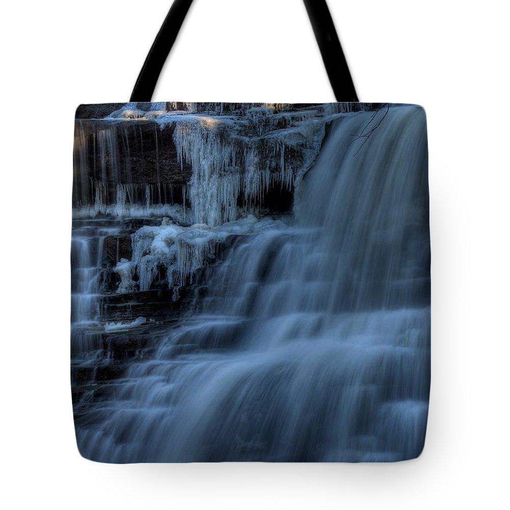 Winter Tote Bag featuring the photograph Winter Waterfall by David Dufresne