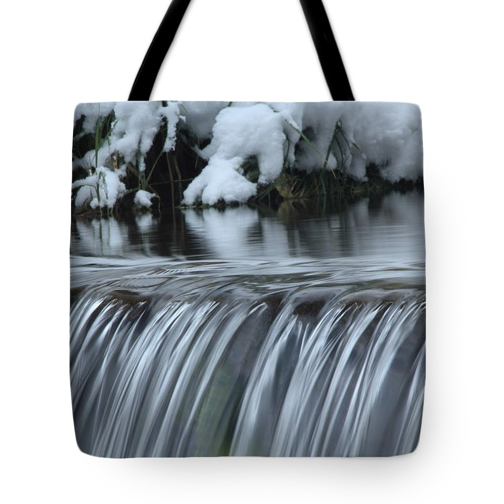 Winter Waterfall Tote Bag featuring the photograph Winter Waterfall by Richard Cheski