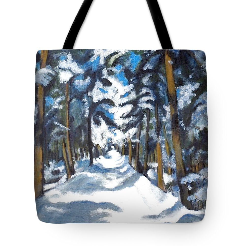 Winter Tote Bag featuring the painting Winter Way by Vera Lysenko