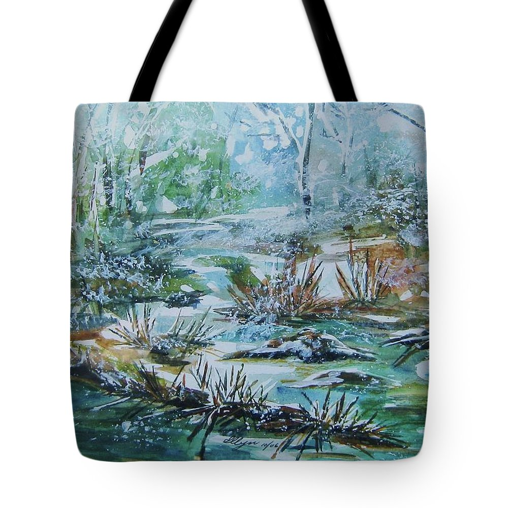 Creek Tote Bag featuring the painting Winter Whispers On Catskill Creek by Ellen Levinson