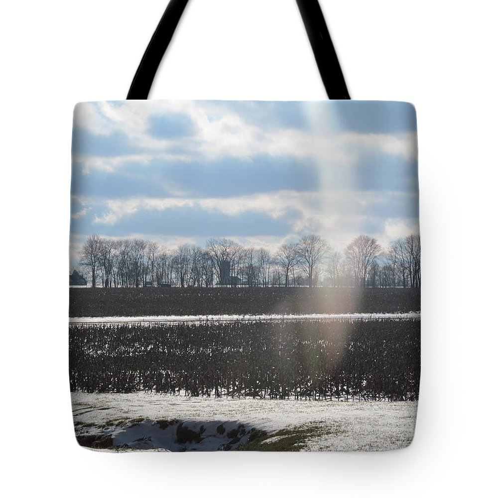 Sky Tote Bag featuring the photograph Winter White Rainbow by Tina M Wenger