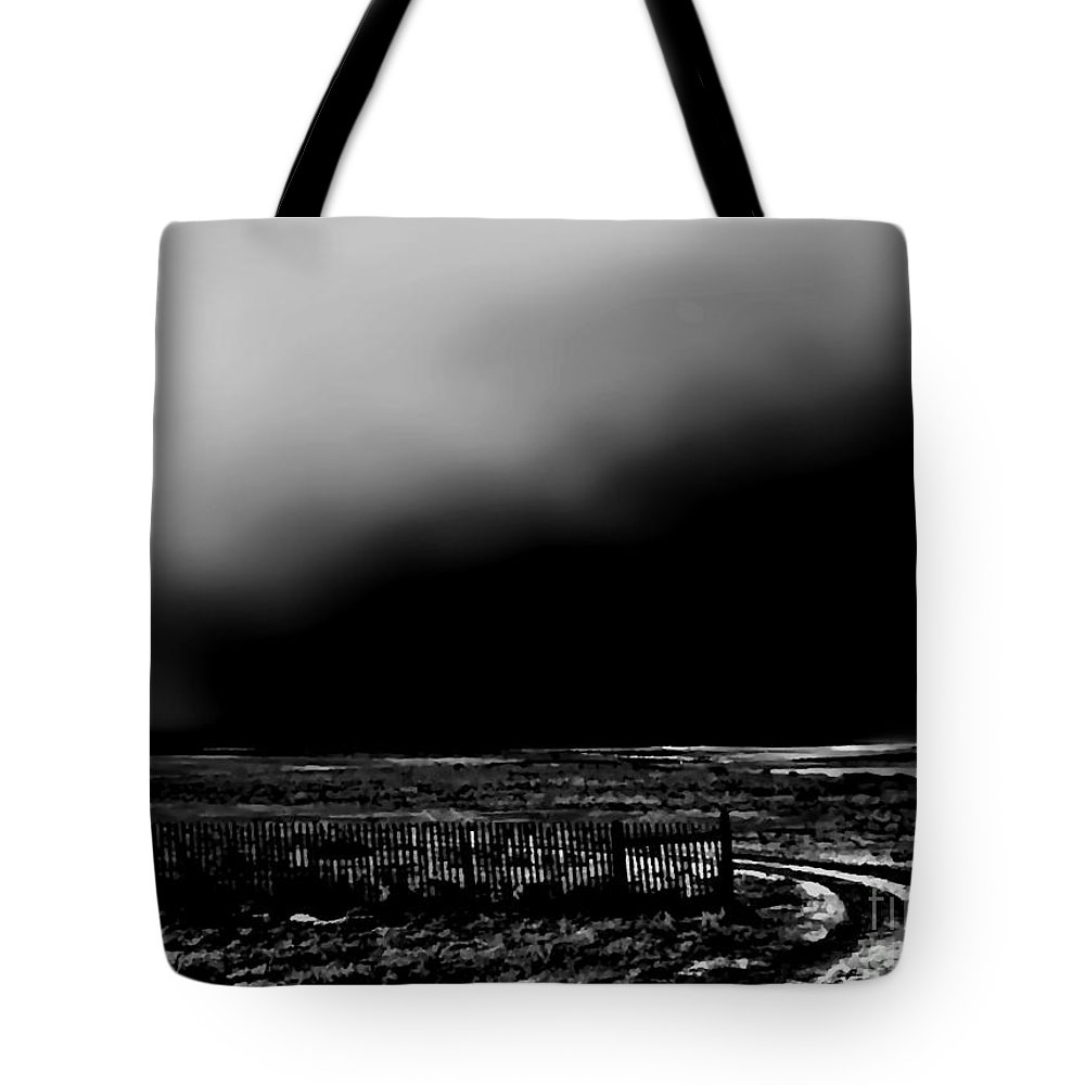 Digital Altered Black And White Photo Tote Bag featuring the digital art Winter Winds Bw by Tim Richards