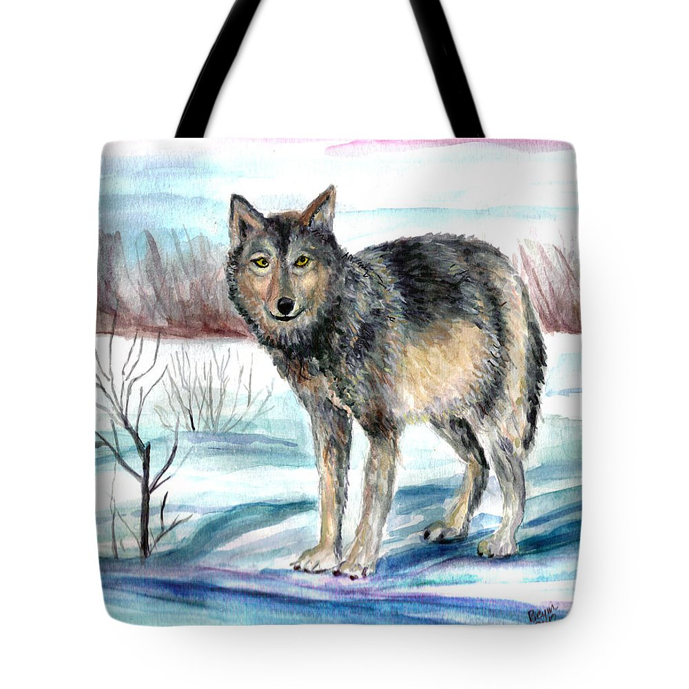 Winter Tote Bag featuring the painting Winter Wolf by Clara Sue Beym