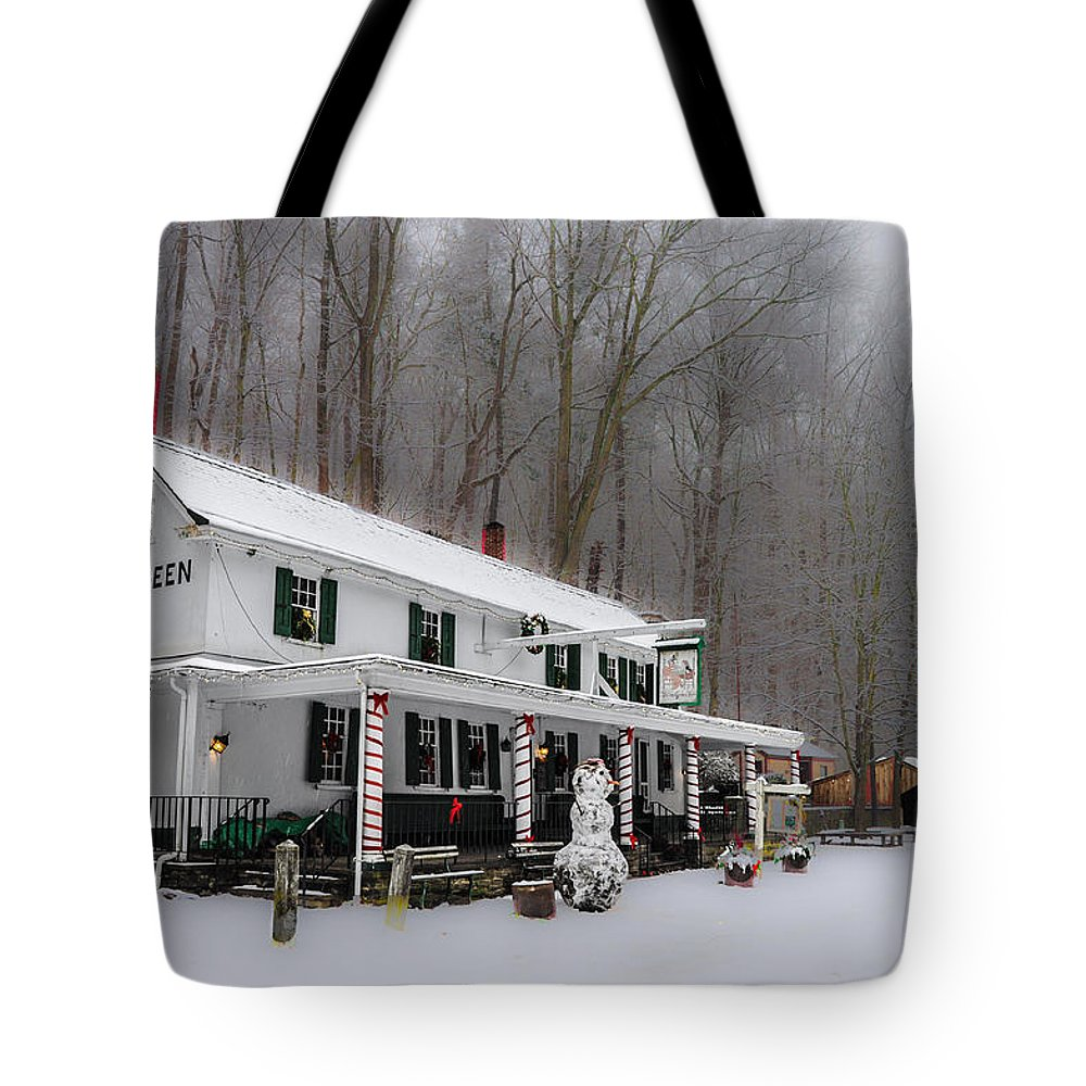 Winter Tote Bag featuring the photograph Winter Wonderland At The Valley Green Inn by Bill Cannon