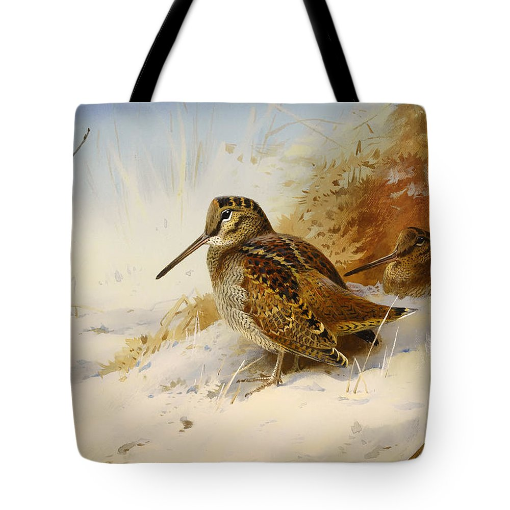 Seasons Tote Bag featuring the painting Winter Woodcock by Mountain Dreams