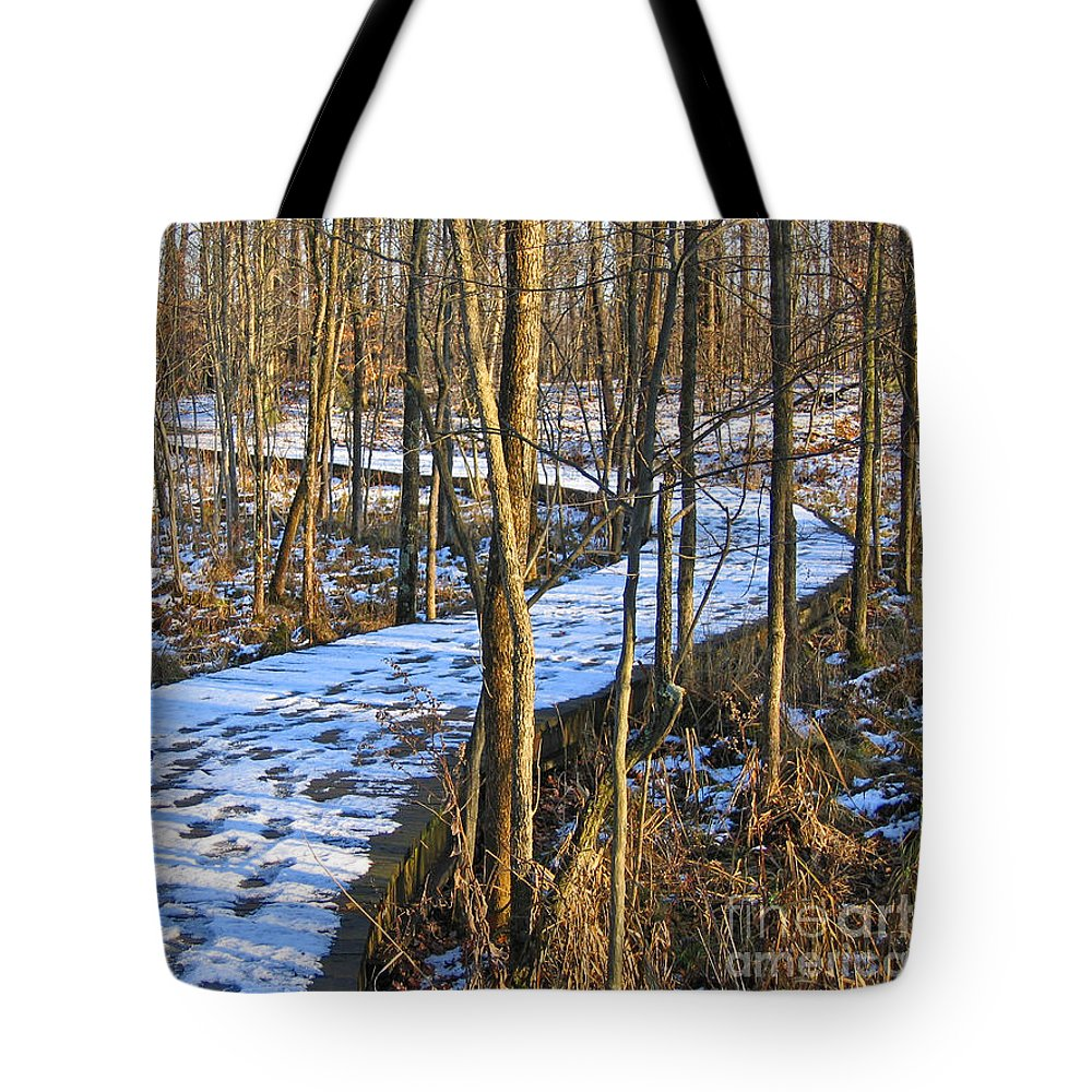 Winter Tote Bag featuring the photograph Winter Woods Walk by Ann Horn