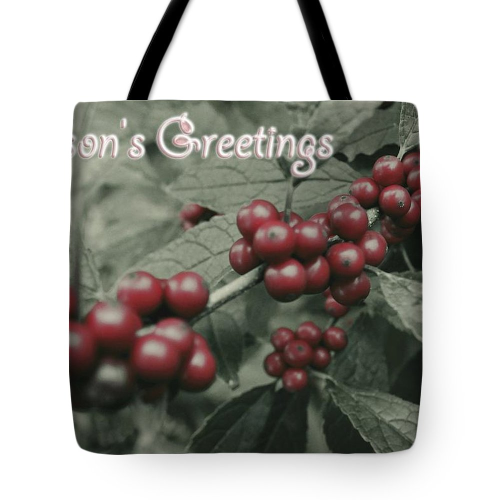 Winter Tote Bag featuring the photograph Winterberry Greetings by Photographic Arts And Design Studio