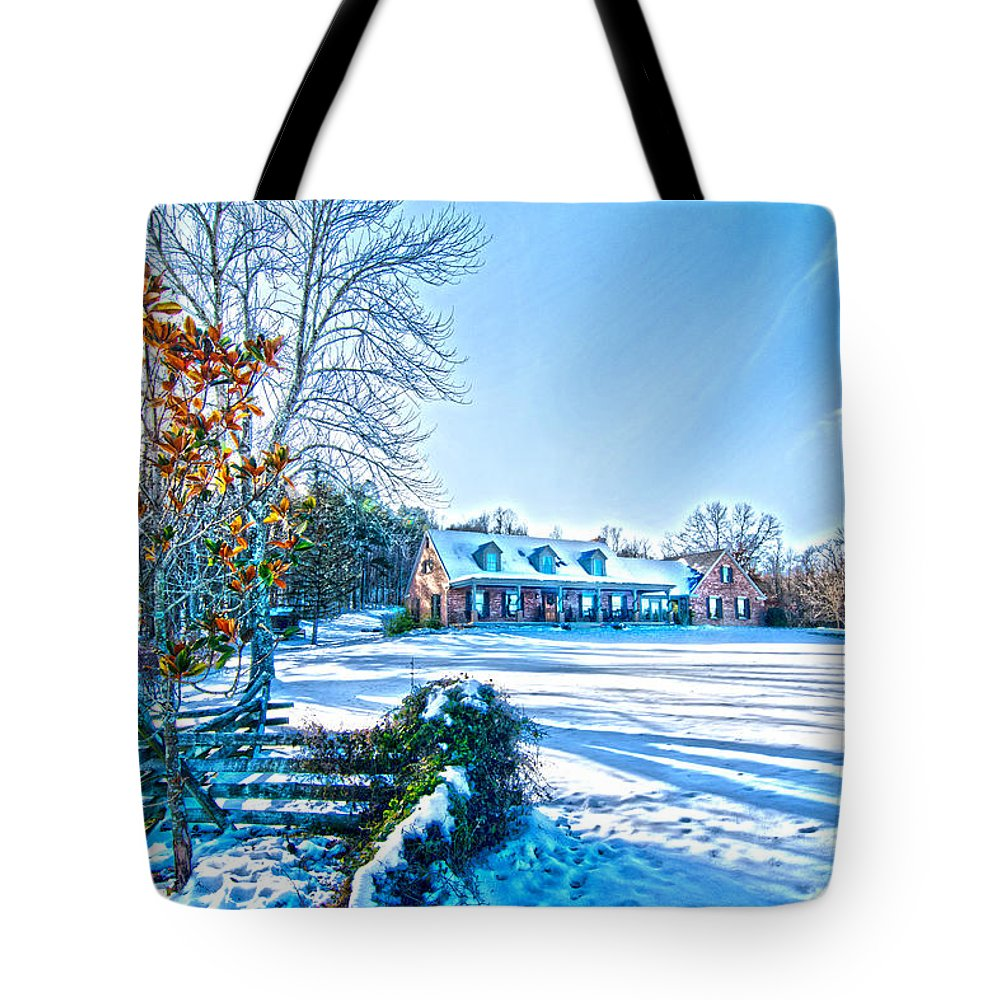 Winters Day Photo Art From The Fence Tote Bag featuring the photograph Winters Day Photo Art From The Fence by Randall Branham