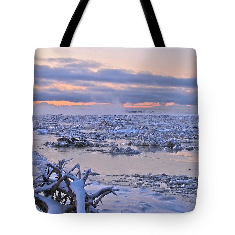 River Tote Bag featuring the photograph Winters River by Rick Monyahan