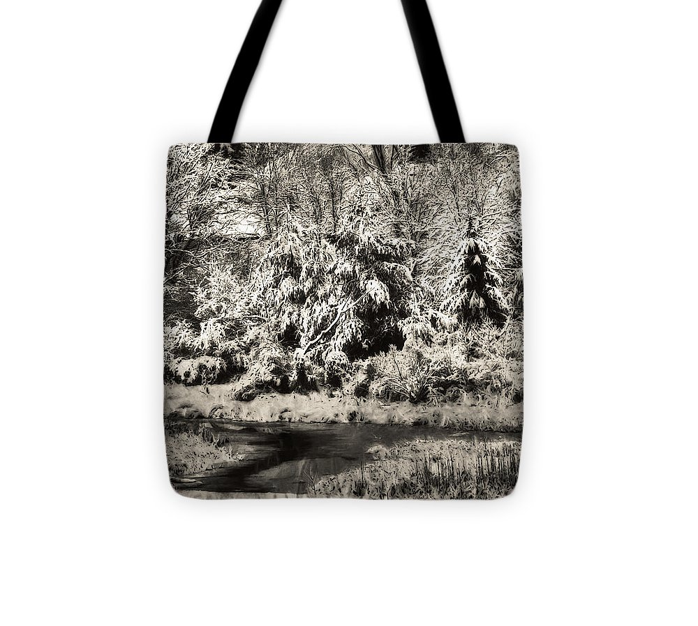 Landscape Tote Bag featuring the photograph Winter's Sepia Grip by Jo-Anne Gazo-McKim
