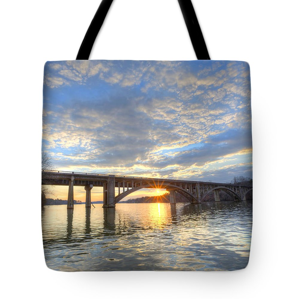 Lake Tote Bag featuring the photograph Winter's Sunset by Jackie Frick Smith