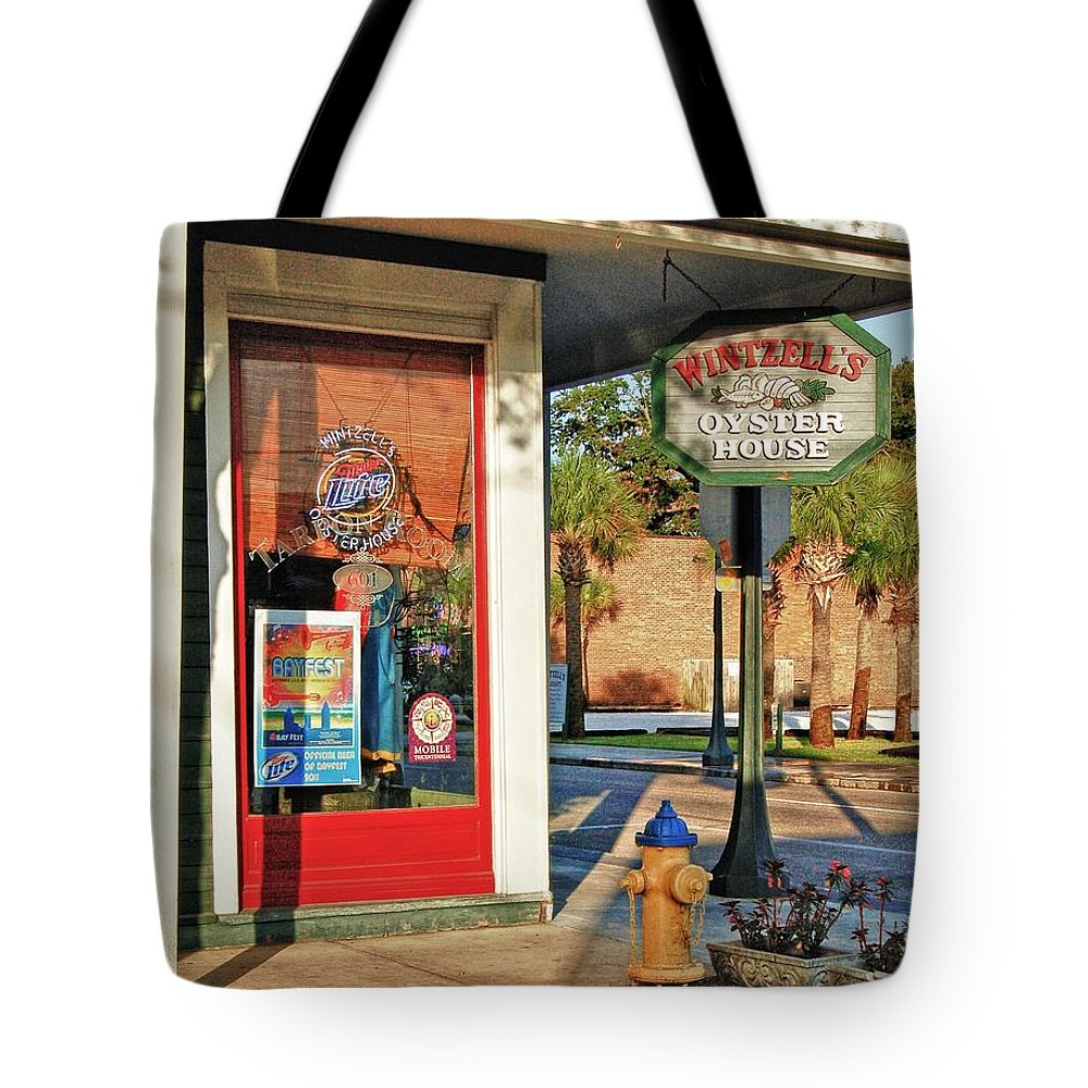 Alabama Tote Bag featuring the digital art Wintzells Firehydrant by Michael Thomas