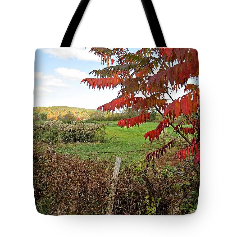 Field Tote Bag featuring the photograph Wire Fenced Field by MTBobbins Photography
