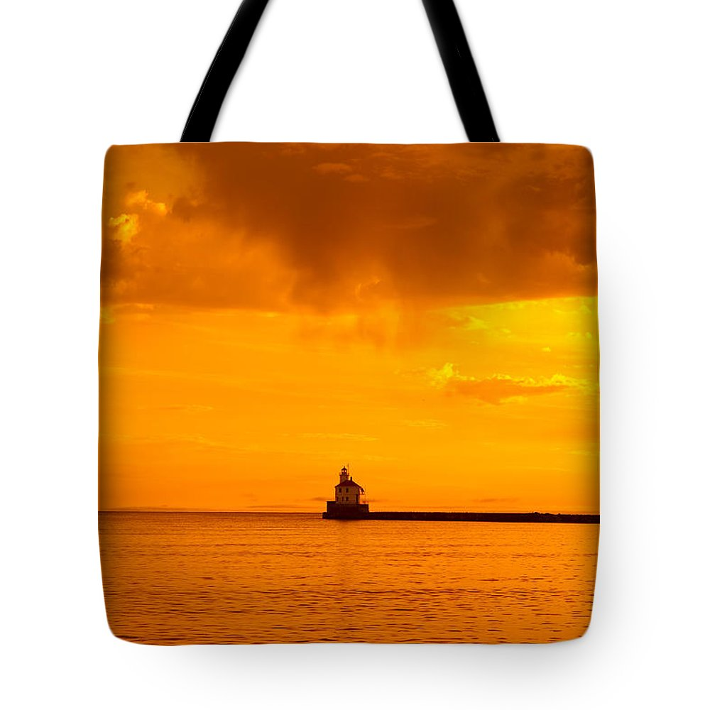 Light Tote Bag featuring the photograph Wisconsin Point Lighthouse Sunrise 1 A by John Brueske