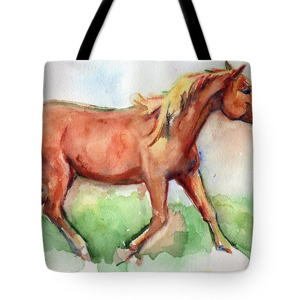 Horse Art Tote Bag featuring the painting Horse Painted In Watercolor Wisdom by Maria's Watercolor