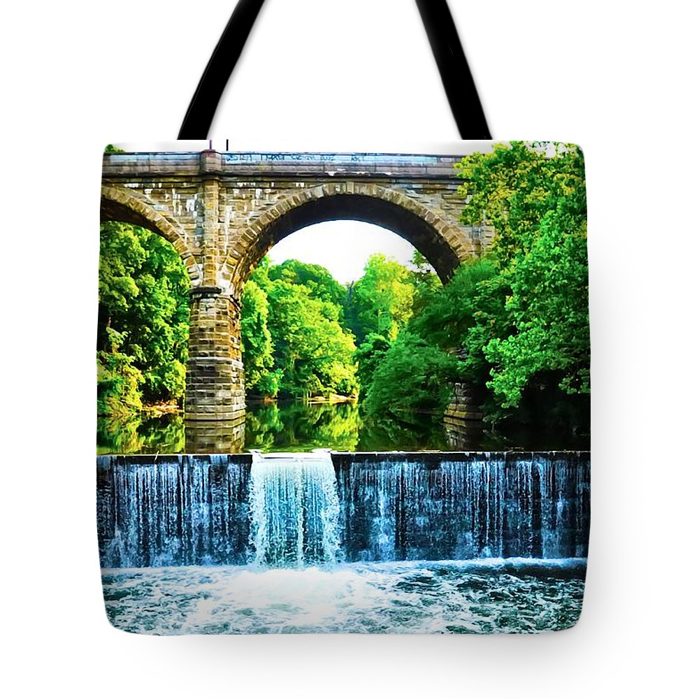 Philadelphia Tote Bag featuring the photograph Wissahickon Falls by Bill Cannon