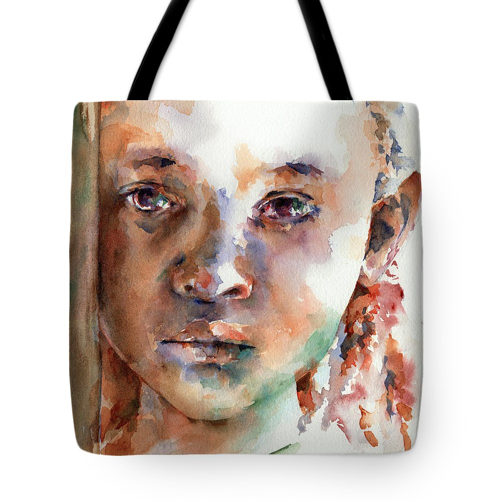 Girl Tote Bag featuring the painting Wistful by Stephie Butler
