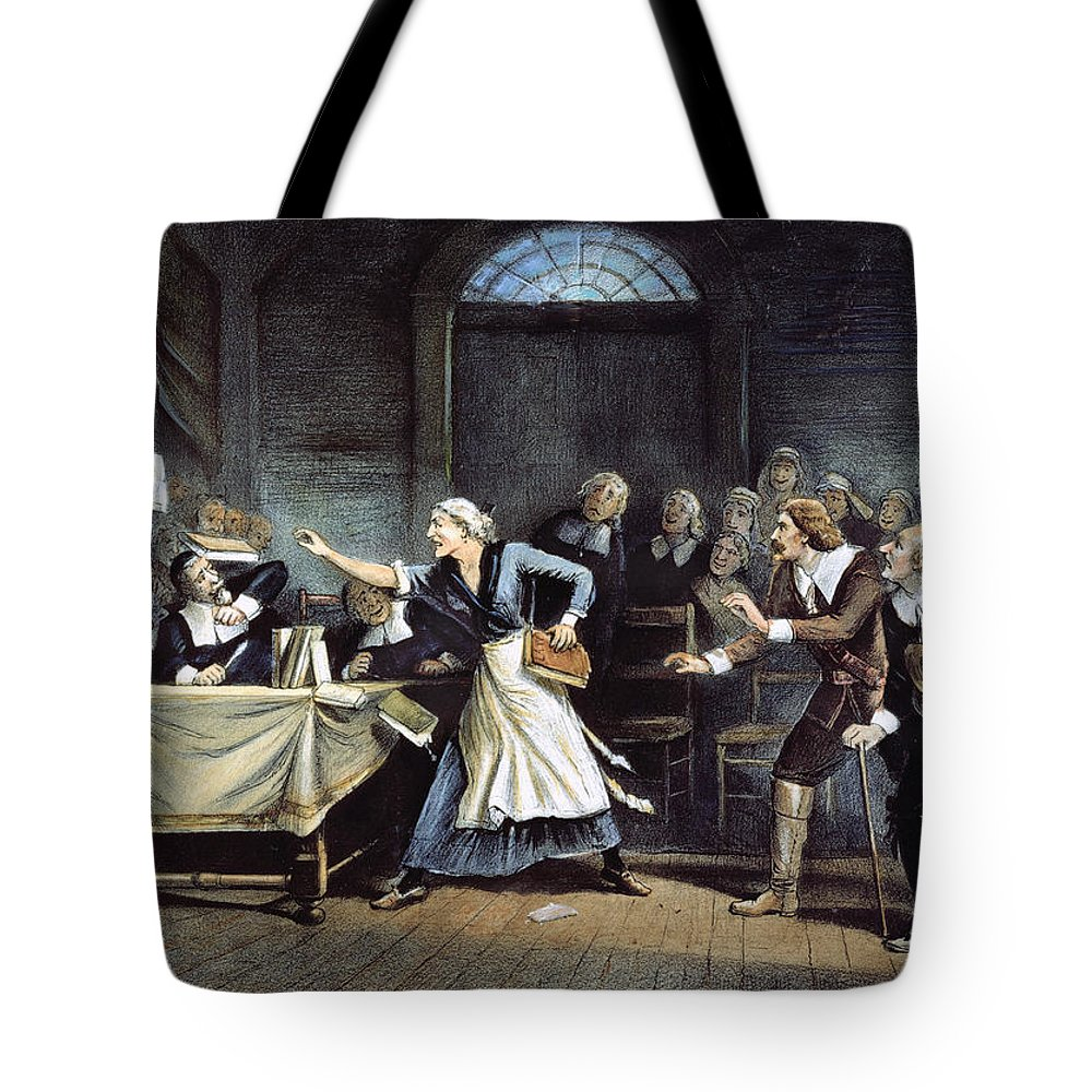 1692 Tote Bag featuring the painting Witch Trial by Granger