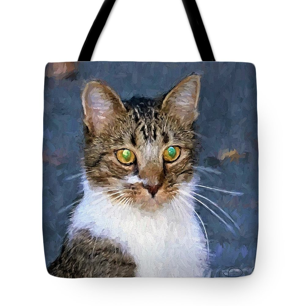Cat Tote Bag featuring the digital art With Eyes On by Ludwig Keck