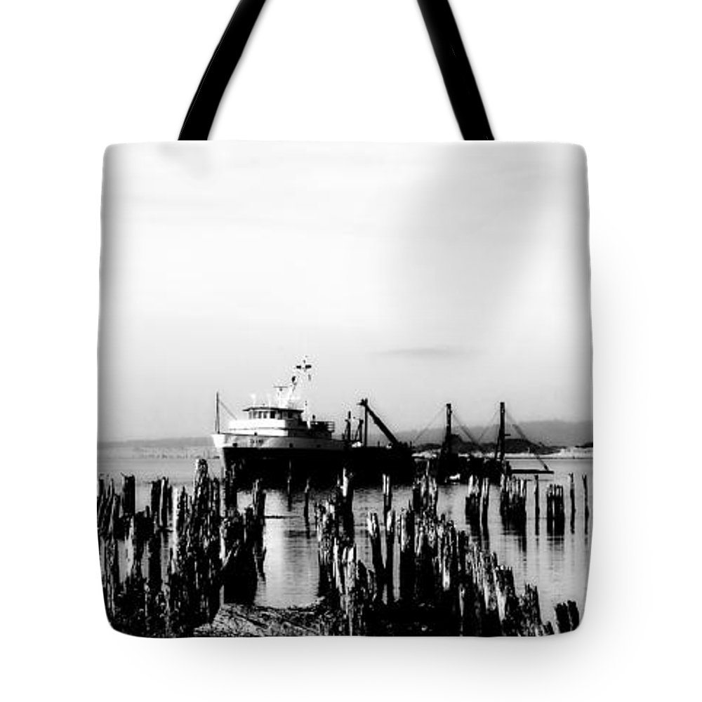 Black Tote Bag featuring the photograph With'in The Harbor by Kathy Sampson